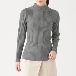 ムジルシリョウヒン(MUJI (無印良品))の無印良品 洗えるワイドリブ編みハイネックセーター グレー Mサイズ(ニット/セーター)