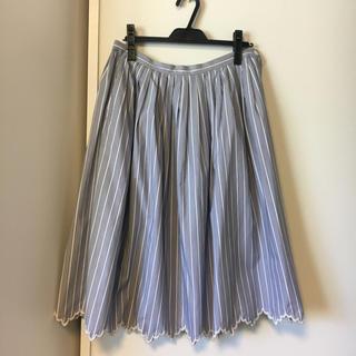 ジェーンマープル(JaneMarple)のサスペンダー付きストライプスカラップスカート(ひざ丈スカート)