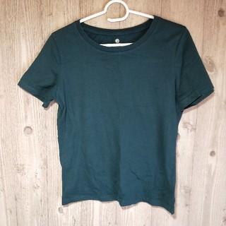 アースミュージックアンドエコロジー(earth music & ecology)のアースミュージックアンドエコロジー 深緑 無地 シンプル 半袖 Tシャツ M(Tシャツ(半袖/袖なし))