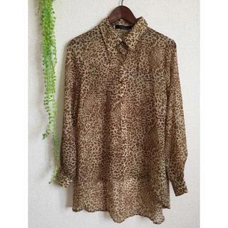 ミスティウーマン(mysty woman)のレオパード柄とろみシャツ(シャツ/ブラウス(長袖/七分))