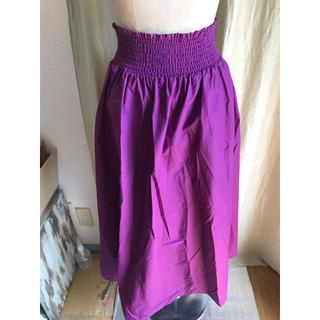 ジーユー(GU)のパープルギャザースカート GU(ひざ丈スカート)