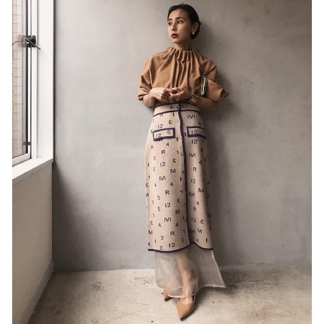 Ameri VINTAGE(アメリヴィンテージ)のAmeri vintage パスコードニットスカート レディースのスカート(ロングスカート)の商品写真