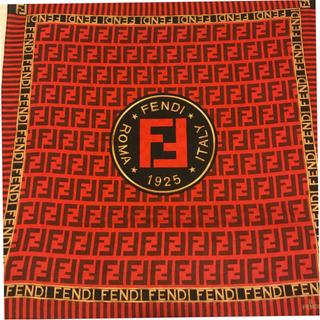 FENDI - 美品 フェンディ ハンカチスカーフ RED BIG  ズッカ trust me
