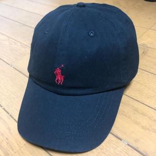 ポロラルフローレン(POLO RALPH LAUREN)のポロラルフローレンキャップ 黒に赤ロゴ(キャップ)