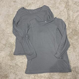 AEON - 授乳長袖インナー 長袖Tシャツ Mサイズ グレー 2枚セット 授乳口出産準備