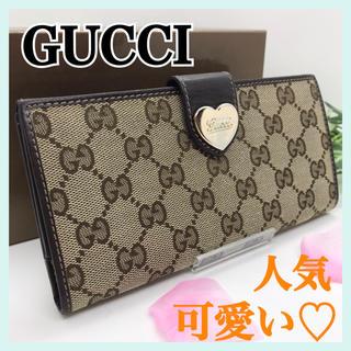 Gucci - GUCCI グッチ GG柄キャンバス ラブリーハート ダークブラウン 長財布
