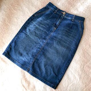 マーキュリーデュオ(MERCURYDUO)のMERCURY Bijou  膝丈デニムスカート Sサイズ インディゴ(ひざ丈スカート)