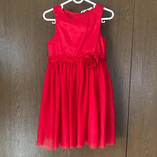 エイチアンドエム(H&M)のH&M ドレス ワンピース 赤 4-5Y 110cm チュール(ドレス/フォーマル)