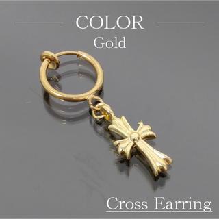 クロスイヤリング クロス フェイクピアス 十字 十字架 ゴールド A058nga