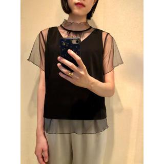ステュディオス(STUDIOUS)のUNITED TOKYO チュールドッキング ブラウス ブラック(シャツ/ブラウス(半袖/袖なし))