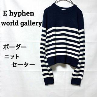 イーハイフンワールドギャラリー(E hyphen world gallery)のイーハイフンワールドギャラリー/ボーダー柄ニットセーターバイカラー美品フリー(ニット/セーター)