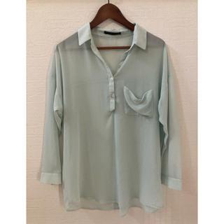 ヘザー(heather)のシースルーシャツ ミントグリーン ヘザー (シャツ/ブラウス(長袖/七分))