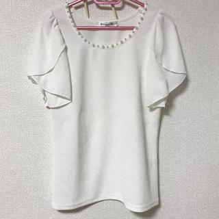 エムズエキサイト(EMSEXCITE)のエムズエキサイト   フリル袖 パール ホワイト 白(シャツ/ブラウス(半袖/袖なし))