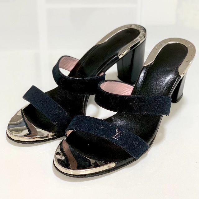 LOUIS VUITTON(ルイヴィトン)の1794 ヴィトン サテン モノグラム サンダル 黒 レディースの靴/シューズ(サンダル)の商品写真
