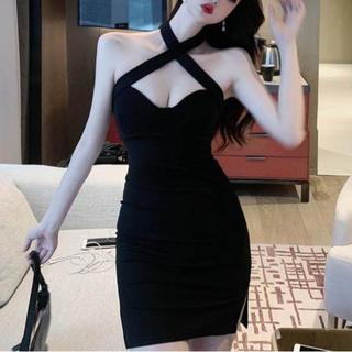 dazzy store - デコルテショルダークロスデザインワンピース キャバ ドレス