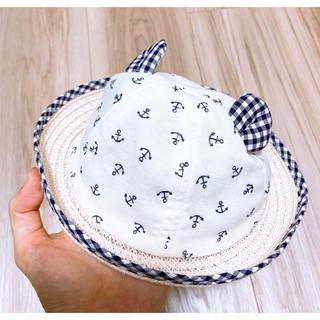 アカチャンホンポ(アカチャンホンポ)のアカチャンホンポクマ耳日除け付ギンガムチェック帽子新生児(帽子)