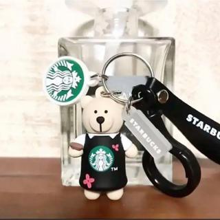 Starbucks Coffee - 【即購入大歓迎】海外スタバ ベアリスタ キーホルダー 花×黒エプロン ストラップ