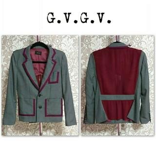 ジーヴィジーヴィ(G.V.G.V.)のg.v.g.v テーラードジャケット 配色 バックシフォン 春 秋 アウター(テーラードジャケット)