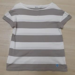 オーシバル(ORCIVAL)のORCIVAIオーシバル ボートネックボーダーTシャツ グレージュ×白(Tシャツ(半袖/袖なし))
