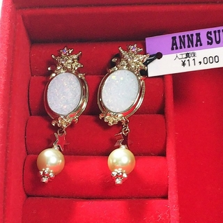 ANNA SUI - 新品 未使用 アナスイ ラメ ホワイト 楕円形 人工真珠 2way ピアス