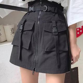 新品】黒 ミニスカート ミリタリー ベルト付 原宿系 韓国ファッション(ミニスカート)