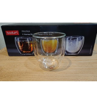 ボダム(bodum)のボダム ダブルウォールグラス 250ml×1個  パヴィーナ 新品未使用(グラス/カップ)
