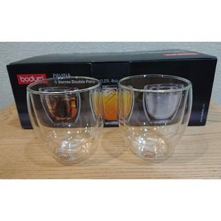 ボダム(bodum)のボダム ダブルウォールグラス 250ml×2個 パヴィーナ 新品未使用(グラス/カップ)