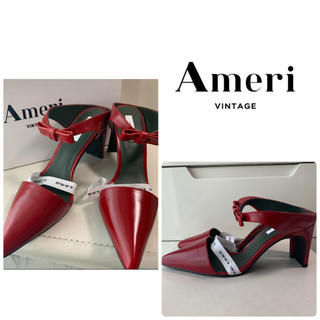 アメリヴィンテージ(Ameri VINTAGE)の美品 アメリヴィンテージ レッドレザー リボン パンプス(ハイヒール/パンプス)