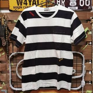 ヒステリックグラマー(HYSTERIC GLAMOUR)のヒステリックグラマー胸ポケット付きロゴ刺繍ボーダーTシャツ M(Tシャツ/カットソー(半袖/袖なし))