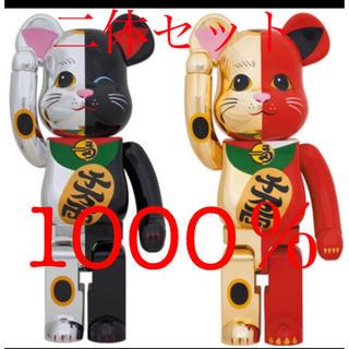 ベアブリック 招き猫 金×赤 1000% / 銀×黒 1000%(その他)