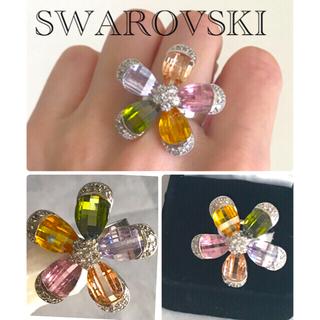 スワロフスキー(SWAROVSKI)の👸スワロフスキーリング🌺フラワー 💐マルチカラー💍(リング(指輪))