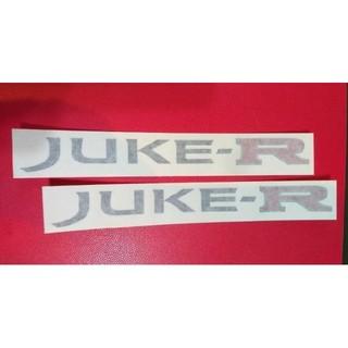 ニッサン(日産)の日産F15ジュークJUKE-R黒X赤UK英国製輸入20cmX2cmデカール2枚入(車外アクセサリ)