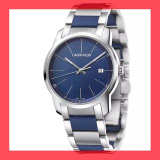 カルバンクライン(Calvin Klein)の新品 カルバンクライン 青文字盤 腕時計 スイスクロノグラフ デイト 30m防水(腕時計(アナログ))