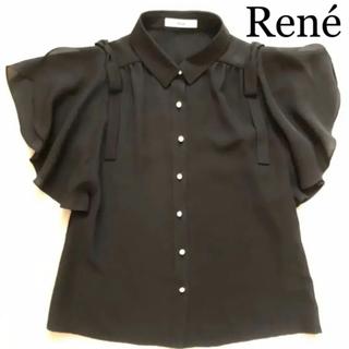 René - ルネ リボン パール ブラウス ★ 34