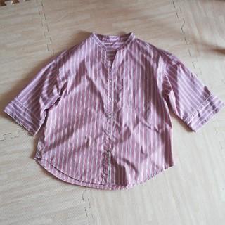 ジーユー(GU)のGU ジーユー 五分袖シャツ ストライプシャツ(シャツ/ブラウス(半袖/袖なし))