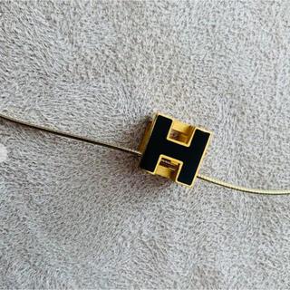 エルメス(Hermes)のHERMES エルメス Hキューブ ネックレス ブラック×ゴールド(ネックレス)