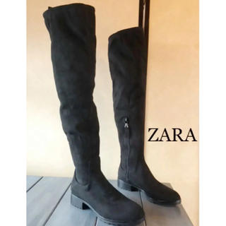 ZARA - ZARA 完売 37 スエード ニーハイブーツ ロングブーツ 黒