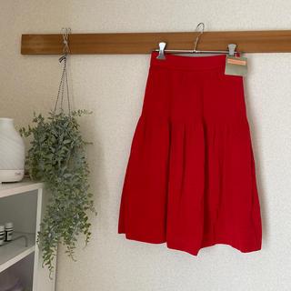新品 日本製 ミスアリス ニットスカート  赤