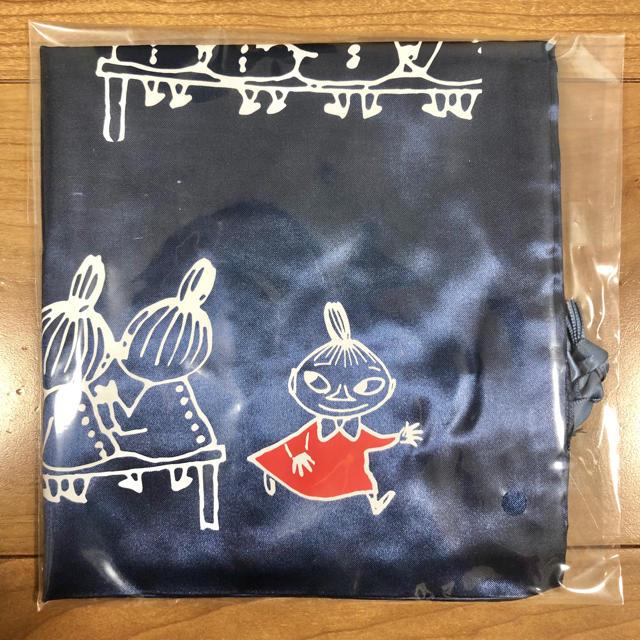 サテン地巾着バッグ ムーミン 紺色 キッズ/ベビー/マタニティのキッズ/ベビー/マタニティ その他(その他)の商品写真