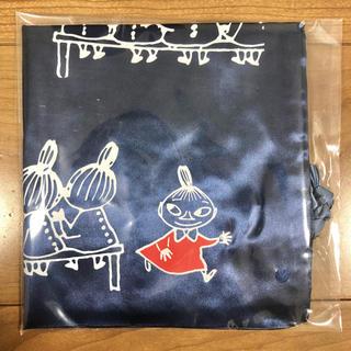 サテン地巾着バッグ ムーミン 紺色