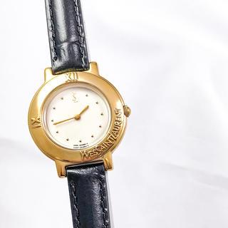 サンローラン(Saint Laurent)の【仕上済】サンローラン ラウンド 白文字盤 ゴールド レディース 腕時計(腕時計)