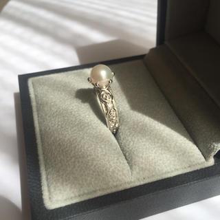 ミキモト(MIKIMOTO)のK18 パール ✴︎ ダイヤモンド  アンティーク バラ彫刻  リング(リング(指輪))
