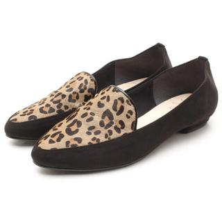 レオパード柄フラットシューズ21.5(ローファー/革靴)