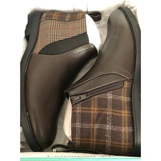 アシナガオジサン(あしながおじさん)の新品!あしながおじさん ショートブーツ LL24.5cm ダークブラウン(ブーツ)
