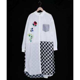 スカラー(ScoLar)のスカラー ScoLar 異素材切替シャツワンピース 新品 未使用品(Tシャツ(長袖/七分))