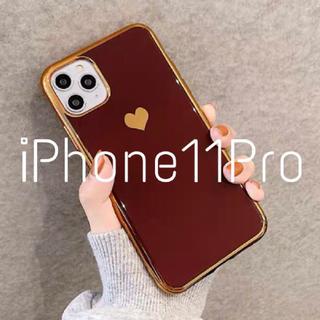 メタリック ハート iPhoneケース (iPhone11Pro レッド)