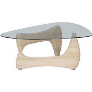 ガラス製センターテーブル【ホワイトオーク】幅100cm 強化ガラス製天板(ローテーブル)