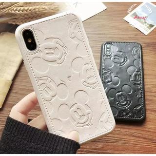 ディズニー☆ iPhoneケース レザー風のミッキーマウス刻印