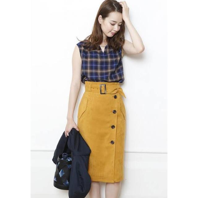 JUSGLITTY(ジャスグリッティー)の美品✨ジャスグリッティー 🌸スエードトレンチタイトスカート レディースのスカート(ひざ丈スカート)の商品写真