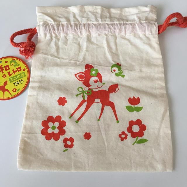 KALDI(カルディ)のカルディ ミニ巾着 バンビ柄 エンタメ/ホビーのおもちゃ/ぬいぐるみ(キャラクターグッズ)の商品写真